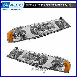 Headlights Headlamps Left & Right Pair Set NEW for 98-02 Lincoln Town Car