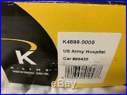 K-line By Lionel Us Army Troop Hospital 15 Passenger Car For O Gauge Train Set