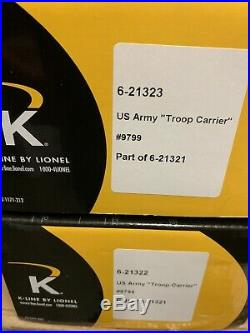 K-line U. S. Army Troop Heavyweight 15 Passenger Car Set New