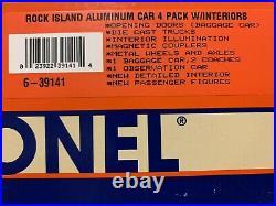 LIONEL ALUMINUM ROCK ISLAND 4 CAR PASSENGER SET With INTERIORS & PEOPLE 6-39141