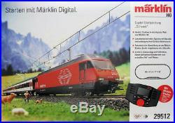 Marklin HO 29512 Swiss Deluxe Starter Set SBB Re 460 and 3 passenger cars RARE