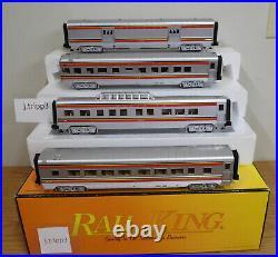 Mth 30-6705 Santa Fe Red Stripe Streamlined 60 Passenger 4 Car Set Train O Gauge