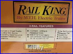 Mth Railking Pennsylvania Streamlined Passenger Coach 4 Car Set 30-67296! Prr