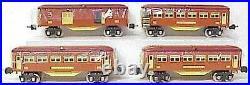 Mth Trains Mt-1025 Tinplate Terra Cotta 4 Car Passenger Set- New- A1b