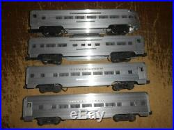 Set of 4 Lionel Postwar Santa Fe Aluminum Passenger Cars Silver Cloud Dawn Range