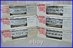 Six Lionel Illuminated Burlington Aluminum Passenger Cars Set Ob