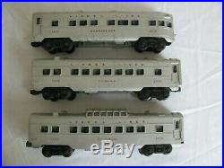 Vintage Lionel Trains Silver with Red Lettering Passenger Car Set 2432 2434 2436